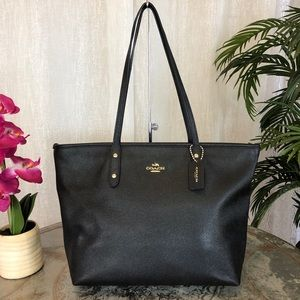 Coach City Zip Black Leather Tote F58846